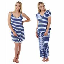 Ladies chemise or pyjamas blue white thin lightweight pjs nightwear stripe 10-22