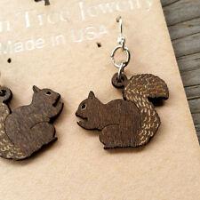 Squirrel Adorable Cinnamon Brown Laser Cut Wood Earrings by Green Tree Jewelry