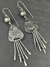 Simple 925 Silver Flower Earrings Ear Hook Dangle Drop Women Wedding Jewelry