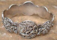 -Bracelet ancien Argent massif décor arabisant Filigrané & calligraphié Oriental