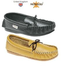 Mens Leather Moccasin Slippers GORDON Mokkers Black Tan Wipe Clean Size 6- 13 UK