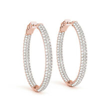 3.12Ct Genuine Natural Round Diamond Earrings Real 14K Rose Gold Hoop SI1/I-J