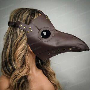 Plague Doctor Bird Mask Long Nose Beak Cosplay Steampunk Halloween Costume Brown
