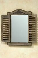 Wall Mirror IN Braun with Shutters Window Cottage Mirror Shutters New