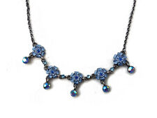 Antique Vintage Style Blue Flower Necklace with Swarovski Crystals