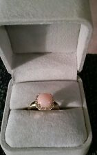 14k Yellow Gold Ring With A Pink Opal Stone And Diamond Accents Size 6