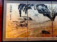 Old Chinese ORO DIPINTI A MANO FIRMATO tavolo pieghevole schermo