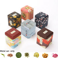 Tea Leaves Metal Tin Cans Iron Square Boxes Sealed Container Herb Stash Jar