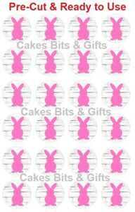 24x PINK BUNNY Edible Wafer Cupcake Toppers PRE-CUT Ready to Use Easter Birthday