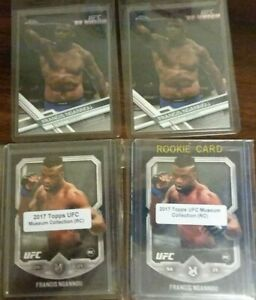 (2) 2017 Topps UFC Museum Collection + (2) 2017 Topps Chrome Francis Ngannou RC