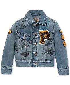 Polo Ralph Lauren Boys Denim Varsity Graphic Jacket Tiger Patch Boys Size XL