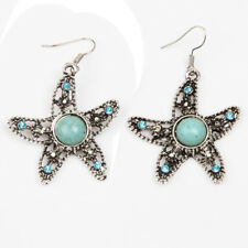 New Women's Tibetan Silver Turquoise Starfish Animal Earrings Jewellery Gift Bag