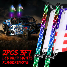 Pair 3ft RGB Spiral CREE LED Whip Lights Antenna Chase + Flag&Remote for ATV UTV