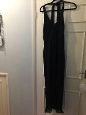 Ladies Wallis Long Black Halter neck Dress Sz 16 BRAND NEW 100% Silk