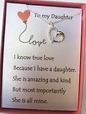 Crystal and Silver Plated Love Heart Necklace w/ love poem for your daughter.