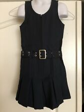 Sz 6 Girls School Uniform Jumper Front Zip, Belted & Pleated Front Hem Navy Blue