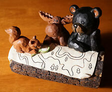 BLACK BEAR MOOSE & SQUIRREL HIKING MAP Camping Lodge Cabin Figurine Decor NEW