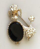 Adorable Vintage Poodle dog brooch enamel gold tone metal