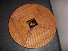 LE CHARIOT VALLAURIS TABLE BASSE RONDE EN ROTIN CARREAU CÉRAMIQUE FLEUR 1950/60