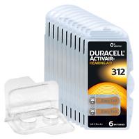 60 Duracell Activair Hörgerätebatterien PR41 Braun 312 + Box für 2 Zellen