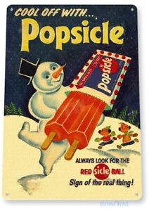 Popsicle Sign, Snow Man Ice Cream Sign, Retro Ice Cream Truck Tin Sign B442