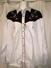 ELY Cattleman Pearl Snap WESTERN Shirt WHITE Embroidered Floral ROSE Size Large