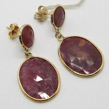 YELLOW GOLD EARRINGS 9K WITH RUBIES ROUGH NATURAL MADE IN ITALY PIECE SINGLE