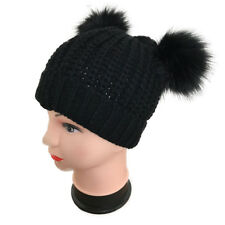 8fa15479440 Womens Ladies Fashion Two Pompom Faux Fur Knitted Hat Beanie Booble Winter  Warm Black