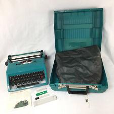 Olivetti Underwood Studio 45 Typewriter Teal Vintage w/ Case Manual Cover Keys