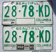 1983 BRITISH COLUMBIA Vintage License Plate PAIR # 28-78-KD