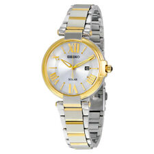 Seiko Solar Silver Dial Two-tone Ladies Watch SUT174