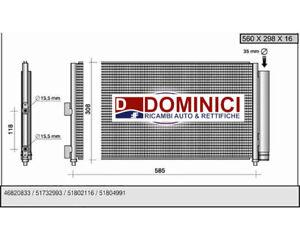 CONDENSATORE RADIATORE CLIMA FIAT PUNTO IDEA LANCIA MUSA 1.3 1.9 MULTIJET