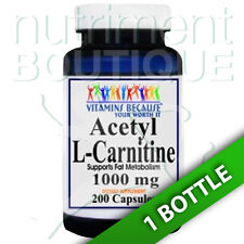 Acetyl L-Carnitine 1000mg 200 Caps by Vitamins Because Your Worth it