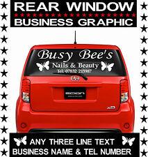 CAR REAR WINDOW ADVERTISING VINYL STICKER GRAPHIC/ BEAUTY SALON/ NAILS/ TANNING