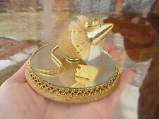 Real Decorated Egg Mouse/Cheese Trinket/Keepsake Box Mirror Base Collectible