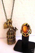 ANTIQUE LOOK  AMBER STONE RING & PENDANT SET Cherub Charm
