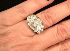 925 Chunky Art Deco CZ Baguette Engagement Ring Sz 7
