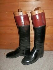 Moss Bros Mahogany Topped Bespoke Black Leather Boots W/ Original Trees -Size 10