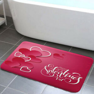 Red Valentine Heart Shower Curtain Toilet Cover Rug Mat Contour Rug Set