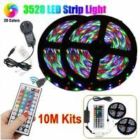 10M RGB LED Strip Light 3528 SMD 44 Key IR Remote 12V DC AU Plug Power Full Kits