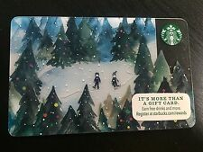 STARBUCKS Card Christmas 2015 - Forest Skate Snow Pine Trees Skating