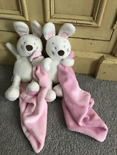 M&S MARKS SPENCER WITH LOVE PINK BUNNY RABBIT BABY COMFORTER BLANKET BLANKIE X2