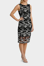 Trent Nathan Dress Size 10 Embroidered Sheer Black White