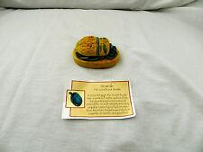 "Egyptian Resin Handmade Scarab Cobra Yellow Green 2.75"" X 1.5"""