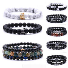 2 Pc Micro Pave CZ Ball Charm Women Men Bracelet Black Matte Agate Bead Jewelry