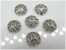 50 / 100 Perlenkappen 10mm groß Durchbruchmuster silber Metall Metallkappen