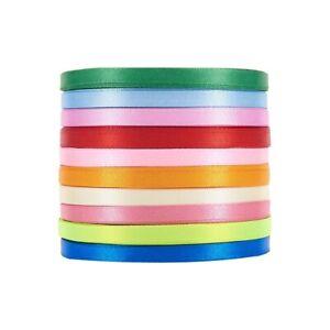 10 Rolls Satin Ribbon Mixed Color Wedding Party Craft Ribbon 25yards/roll