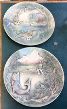 2 Vintage Hunting & Fishing 10-3/8� Air Brushed Ceramic Wall Decor Plates