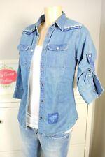SUPERDRY Jeansbluse Hemd Jeans The Loom Line Blau Gr. XS 34 (DG7)