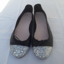 SALE  BALLERINAS BALLET BLACK LEATHER SILVER TOES FLAT SHOES SIZE 5 EU38